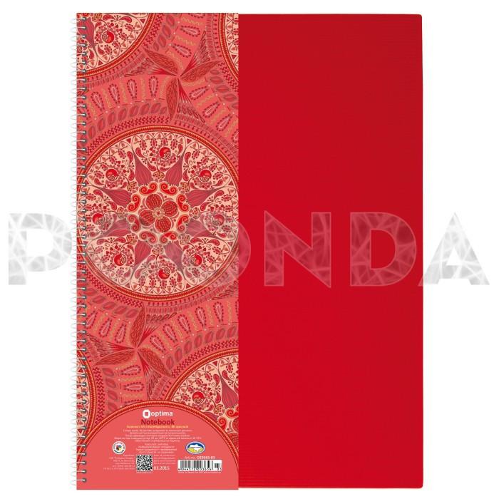 Блокнот OPTIMA А4 80 л, Kaleidoscope, боковая спир., ассорти пластиковая обложка, O20365